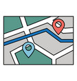 navigation map with destination and start vector image
