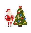 new year tree and santa claus icon poster vector image vector image