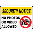 no photos or video allowed sign vector image vector image