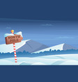 north pole road sign snowy background with snow vector image vector image