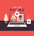 online dating app concept with man and woman flat vector image