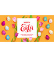 orange easter holiday banner vector image vector image