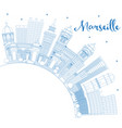 outline marseille france city skyline with blue vector image vector image