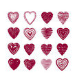 red heart set of icons love valentine romance vector image vector image