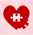 red pieces puzzle of romantic heart logo vector image vector image