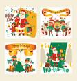 santa claus elf kids helpers vector image vector image