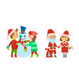 santa claus with presents bag and female helper vector image