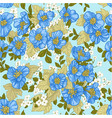 seamless pattern blue wildflowers vector image