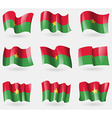Set of Burkia Faso flags in the air vector image vector image