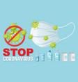 stop coronavirus text sign with coronavirus theme vector image vector image