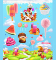 sweet candy land cartoon game background 3d set vector image vector image