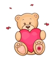 teddy bear with red heart vector image vector image