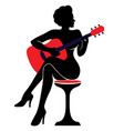 the silhouette of a woman with a vector image vector image