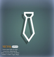 Tie icon symbol on the blue-green abstract vector image
