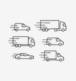 transportation icon set transport delivery vector image