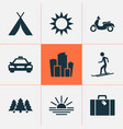 traveling icons set with taxi moped suitcase and vector image