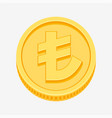 turkish lira currency symbol on gold coin vector image vector image