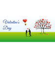 valentines day background with silhouette vector image