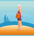 woman walking along the beach design vector image