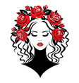 woman with roses vector image vector image