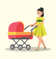 young mother walking with a newborn that is in the vector image vector image