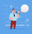 business man hold megaphone loudspeaker digital vector image