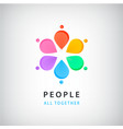 abstract people in circle logo global vector image