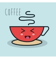cartoon cup coffee red facial expression isolated vector image