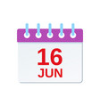 16 june calendar icon fathers day vector image