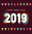 2019 happy new year greeting card design with vector image vector image