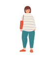 attractive plus size woman flat vector image