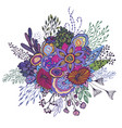 beautiful fantasy bouquet with hand drawn flowers vector image vector image