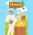 beekeeper gathers honey apiary farm and dipper vector image
