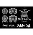 beer set elements chalkboard octoberfest vector image vector image
