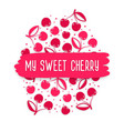 blank greeting card with cherry pattern vector image