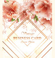 business card with beautiful delicate pink flowers vector image