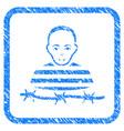 camp prisoner framed stamp vector image