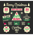 chalkboard style christmas design elements set vector image
