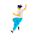 cheerful running guy a dancing young man vector image vector image