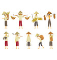 collection of asian farmers in straw conical hata vector image