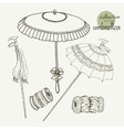 Collection womens old umbrellas vector image
