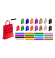 Colorful Paper Shopping Bags for Black Friday vector image