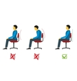 Correct and bad sitting position medical vector image
