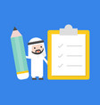 cute arab businessman holding giant pencil vector image