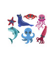 cute sea creatures collection ocean animals and vector image vector image