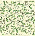 doodle seamless pattern with leafs vector image vector image