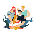 family portrait photo mother and father teenage vector image vector image