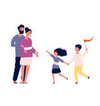 family together happy children running to parents vector image vector image