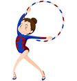 Female athlete doing gymnastics with hoop vector image vector image