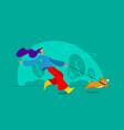 female running at park pulled corgi vector image